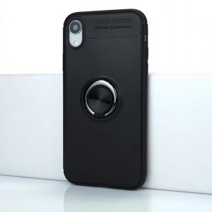 Силиконовый матовый непрозрачный чехол с встроенным кольцом-подставкой для Iphone Xr Черный