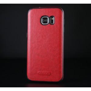 Силиконовый матовый непрозрачный чехол с нескользящими гранями и текстурным покрытием Кожа для Samsung Galaxy S7 Красный