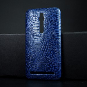 Чехол накладка текстурная отделка Кожа Крокодила для Asus Zenfone 2 Синий
