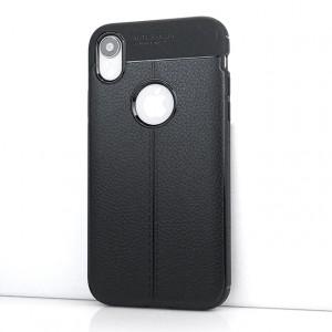 Силиконовый матовый непрозрачный чехол с текстурным покрытием Кожа для Iphone Xr Черный
