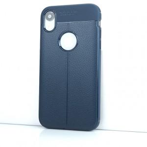 Силиконовый матовый непрозрачный чехол с текстурным покрытием Кожа для Iphone Xr Синий