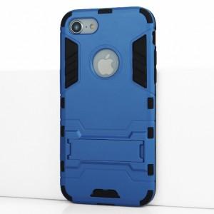 Противоударный двухкомпонентный силиконовый матовый непрозрачный чехол с поликарбонатными вставками экстрим защиты с встроенной ножкой-подставкой для Iphone 7/8 Голубой
