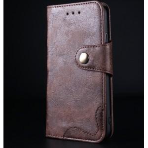 Винтажный чехол портмоне подставка на силиконовой основе с отсеком для карт на крепежной застежке для Iphone 6/6s Коричневый