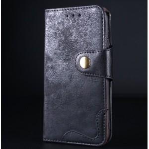 Винтажный чехол портмоне подставка на силиконовой основе с отсеком для карт на крепежной застежке для Iphone 6/6s Черный