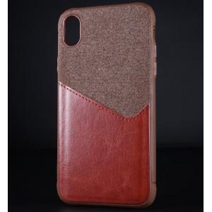 Силиконовый матовый непрозрачный чехол с текстурным покрытием Кожа/Ткань для Iphone Xr Коричневый