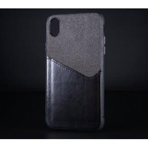 Силиконовый матовый непрозрачный чехол с текстурным покрытием Кожа/Ткань для Iphone Xr Черный