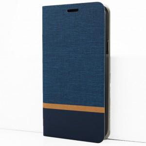 Чехол флип подставка текстура Ткань на силиконовой основе с отсеком для карт для Alcatel A7 Синий