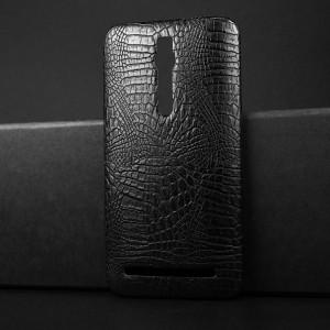 Чехол накладка текстурная отделка Кожа Крокодила для Asus Zenfone 2 Черный