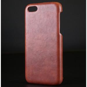 Пластиковый непрозрачный матовый чехол с текстурным покрытием Кожа для Iphone 5c Коричневый