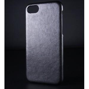 Пластиковый непрозрачный матовый чехол с текстурным покрытием Кожа для Iphone 7/8 Черный