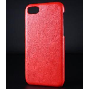 Пластиковый непрозрачный матовый чехол с текстурным покрытием Кожа для Iphone 7/8 Красный