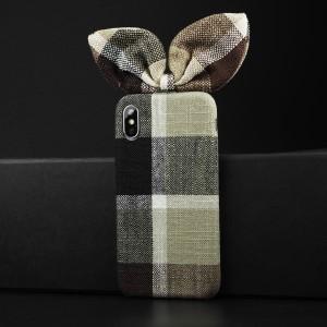 Пластиковый непрозрачный матовый чехол с тканевым покрытием и бантом для Iphone X/XS Коричневый