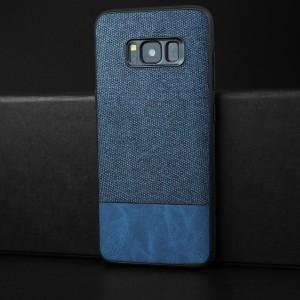 Силиконовый матовый непрозрачный чехол с текстурным покрытием Ткань для Samsung Galaxy S8 Синий