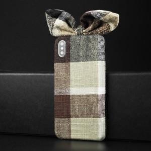 Пластиковый непрозрачный матовый чехол с тканевым покрытием и бантом для Iphone Xs Max Коричневый
