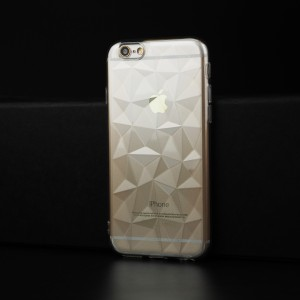 Силиконовый глянцевый полупрозрачный чехол с текстурным покрытием Камень для Iphone 6/6s Белый