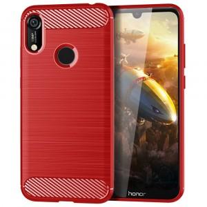 Силиконовый матовый непрозрачный чехол с текстурным покрытием Металлик для Huawei Y6 (2019)/Honor 8A Красный