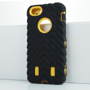 Противоударный двухкомпонентный силиконовый матовый непрозрачный чехол с поликарбонатными вставками экстрим защиты с текстурным покрытием Шина для Iphone 5s Желтый