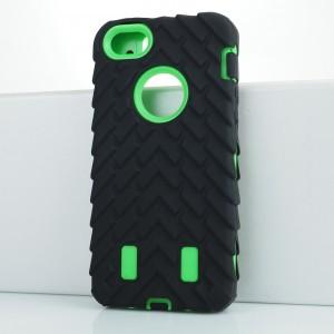 Противоударный двухкомпонентный силиконовый матовый непрозрачный чехол с поликарбонатными вставками экстрим защиты с текстурным покрытием Шина для Iphone 5s Зеленый
