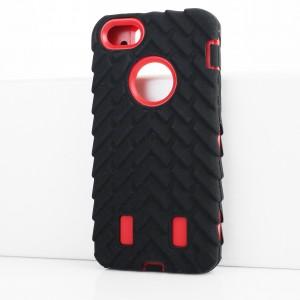 Противоударный двухкомпонентный силиконовый матовый непрозрачный чехол с поликарбонатными вставками экстрим защиты с текстурным покрытием Шина для Iphone 5s Красный