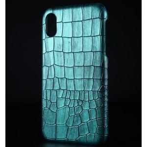 Пластиковый непрозрачный матовый чехол с текстурным покрытием Крокодил для Iphone Xr Зеленый