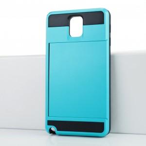 Противоударный двухкомпонентный силиконовый матовый непрозрачный чехол с отсеком для карт и поликарбонатными вставками для Samsung Galaxy Note 3