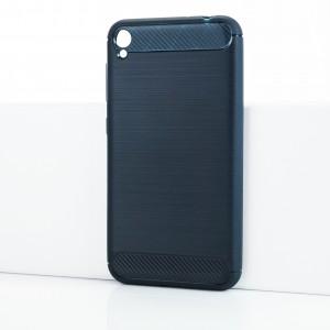 Силиконовый матовый непрозрачный чехол с текстурным покрытием Металлик для Asus ZenFone Live Синий