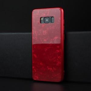Силиконовый глянцевый непрозрачный чехол с поликарбонатной накладкой с текстурным покрытием Камень для Samsung Galaxy S8 Красный