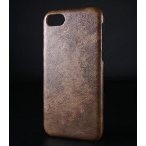 Пластиковый непрозрачный матовый чехол с текстурным покрытием Кожа для Iphone 7/8 Коричневый