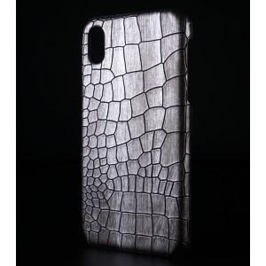 Пластиковый непрозрачный матовый чехол с текстурным покрытием Крокодил для Iphone Xr Белый