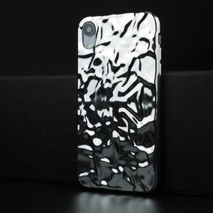 Силиконовый глянцевый непрозрачный чехол с текстурным покрытием Металл для Iphone Xr Белый