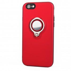 Силиконовый матовый непрозрачный чехол с поликарбонатными вставками с встроенным кольцом-подставкой для Iphone 6/6s Красный