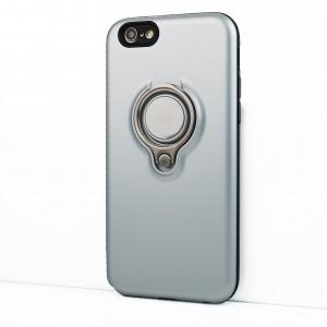 Силиконовый матовый непрозрачный чехол с поликарбонатными вставками с встроенным кольцом-подставкой для Iphone 6/6s Серый
