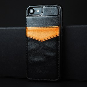 Силиконовый матовый непрозрачный чехол с отсеком-книжкой для карт и текстурным покрытием Кожа для Iphone 7/8 Черный