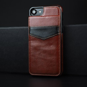 Силиконовый матовый непрозрачный чехол с отсеком-книжкой для карт и текстурным покрытием Кожа для Iphone 7/8 Коричневый