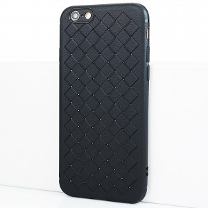 Силиконовый матовый непрозрачный чехол с текстурным покрытием Плетеная кожа для Iphone 6/6s Черный