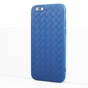 Силиконовый матовый непрозрачный чехол с текстурным покрытием Плетеная кожа для Iphone 6/6s Синий