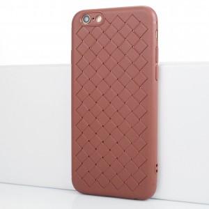 Силиконовый матовый непрозрачный чехол с текстурным покрытием Плетеная кожа для Iphone 6/6s Коричневый