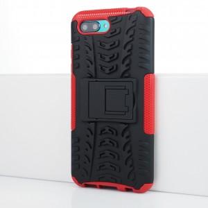 Противоударный двухкомпонентный силиконовый матовый непрозрачный чехол с поликарбонатными вставками экстрим защиты с встроенной ножкой-подставкой и текстурным покрытием Шина для Huawei Honor 10