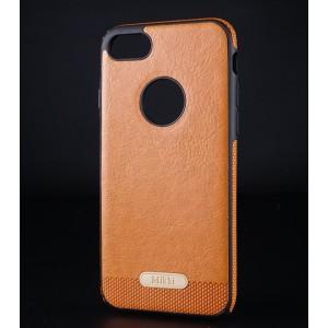 Силиконовый матовый непрозрачный чехол с текстурным покрытием Кожа для Iphone 7/8 Коричневый