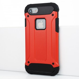 Противоударный двухкомпонентный силиконовый матовый непрозрачный чехол с поликарбонатными вставками экстрим защиты для Iphone 7/8 Красный