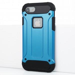Противоударный двухкомпонентный силиконовый матовый непрозрачный чехол с поликарбонатными вставками экстрим защиты для Iphone 7/8 Синий