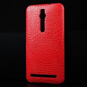 Чехол накладка текстурная отделка Кожа Крокодила для Asus Zenfone 2 Красный