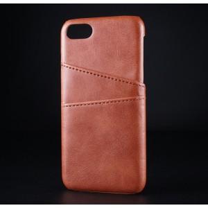 Чехол накладка текстурная отделка Кожа с отсеком для карт для Iphone 7/8 Коричневый