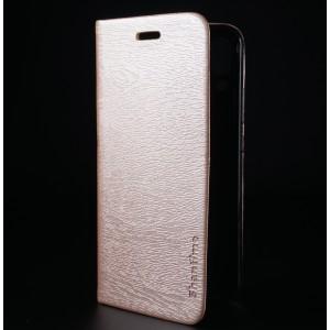 Чехол флип подставка текстура Дерево на силиконовой основе с отсеком для карт для ASUS ZenFone 5 ZE620KL Бежевый