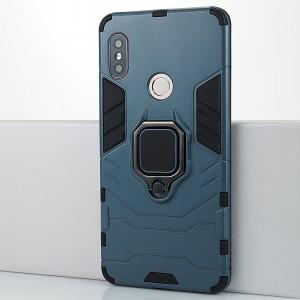 Противоударный двухкомпонентный силиконовый матовый непрозрачный чехол с поликарбонатными вставками экстрим защиты с встроенным кольцом-подставкой и текстурным покрытием Металлик для Xiaomi RedMi Note 5/5 Pro Синий