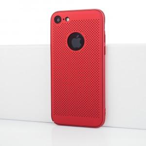 Двухкомпонентный сборный пластиковый полупрозрачный матовый чехол с текстурой Точки для Iphone 7/8 Красный