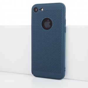 Двухкомпонентный сборный пластиковый полупрозрачный матовый чехол с текстурой Точки для Iphone 7/8 Синий