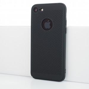 Двухкомпонентный сборный пластиковый полупрозрачный матовый чехол с текстурой Точки для Iphone 7/8 Черный