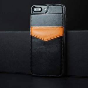 Силиконовый матовый непрозрачный чехол с текстурным покрытием Кожа и отсеком-книжкой для карт для Iphone 7 Plus/8 Plus Черный