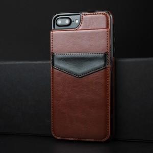 Силиконовый матовый непрозрачный чехол с текстурным покрытием Кожа и отсеком-книжкой для карт для Iphone 7 Plus/8 Plus Коричневый